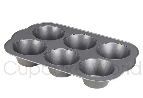 6 CUP JUMBO LARGE CUPCAKE MUFFIN TRAY PAN TIN NONSTICK